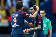 Paris Saint Germain's Uruguayan forward Edinson Cavani salutes Paris Saint Germain's Argentinian midfielder Angel Di Maria during the French Championship Ligue 1 football match between Paris Saint-Germain and Girondins de Bordeaux on September 30, 2017 at the Parc des Princes stadium in Paris, France - Photo Benjamin Cremel / ProSportsImages / DPPI