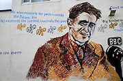 George Orwell mural picture Southwold, Suffolk, England, Uk by artist Charles Uzzell-Edwards