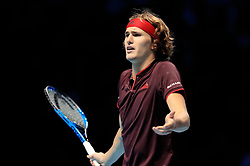 Alexander Zverev reacts during day five of the NITTO ATP World Tour Finals at the O2 Arena, London.