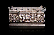 Side panel of a Roman relief garland  sculpted sarcophagus, style typical of Pamphylia, 3rd Century AD, Konya Archaeological Museum, Turkey. Against a black background .<br /> <br /> If you prefer to buy from our ALAMY STOCK LIBRARY page at https://www.alamy.com/portfolio/paul-williams-funkystock/greco-roman-sculptures.html . Type -    Konya     - into LOWER SEARCH WITHIN GALLERY box - Refine search by adding a subject, place, background colour, museum etc.<br /> <br /> Visit our ROMAN WORLD PHOTO COLLECTIONS for more photos to download or buy as wall art prints https://funkystock.photoshelter.com/gallery-collection/The-Romans-Art-Artefacts-Antiquities-Historic-Sites-Pictures-Images/C0000r2uLJJo9_s0