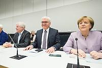 11 FEB 2017, BERLIN/GERMANY:<br /> Horst Seehofer, CSU, Ministerpraesident Bayern, Frank-Walter Steinmeier, SPD, Kandidat fuer das Amt des Bundespraesidenten, Angela Merkel, CDU, Bundeskanzlerin, (v.L.n.R.), vor Beginn der CDU/CSU Fraktionssitzung am Vortag der Bundesversammlung, Reichstagsgebaeude, Deutscher Bundestag<br /> IMAGE: 20170211-01-025