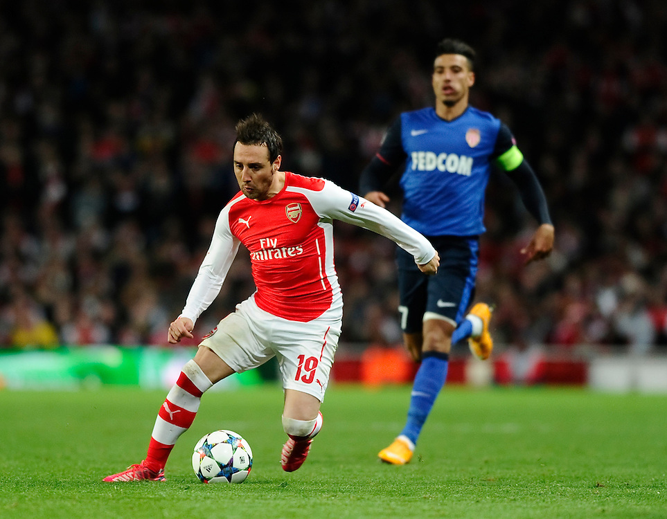 Arsenal's Santi Cazorla in action during todays match  <br /> <br /> Photographer Ashley Western/CameraSport<br /> <br /> Football - UEFA Champions League Second Round 1st Leg - Arsenal v Monaco - Wednesday 25th February 2015 - Emirates Stadium - London<br /> <br /> © CameraSport - 43 Linden Ave. Countesthorpe. Leicester. England. LE8 5PG - Tel: +44 (0) 116 277 4147 - admin@camerasport.com - www.camerasport.com