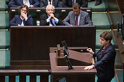July 18, 2017 - Warsaw, Poland - Prime Minister of Poland Beata Szydlo (R) and Jaroslaw Kaczynski (bottom row, 2-L) during a night debate on a Supreme Court bill, in the lower house of Polish Parliament (Sejm) in Warsaw, Poland on 18 July 2017  (Credit Image: © Mateusz Wlodarczyk/NurPhoto via ZUMA Press)