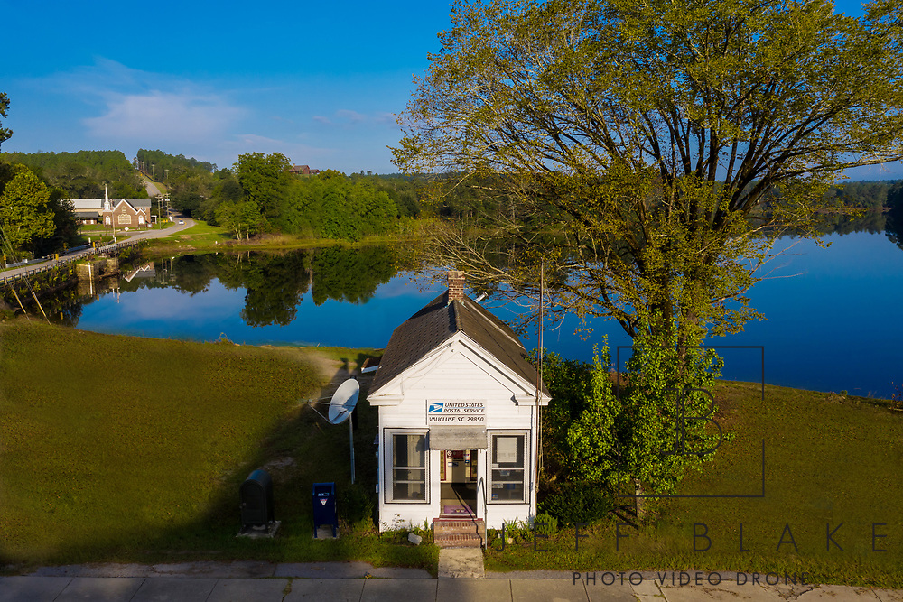 Aerial Drone photo of the Vaucluse Post Office in Vaucluse, SC.
