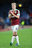 Ben Mee of Burnley shows his appreciation to the crowd at the final whistle. Premier League match, Burnley v Crystal Palace at Turf Moor in Burnley , Lancs on Saturday 5th November 2016.<br /> pic by Chris Stading, Andrew Orchard sports photography.