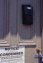 Notice this property condemned sign. unfit housing for human habitation sign poster locked door CONCEPT STOCK PHOTOS