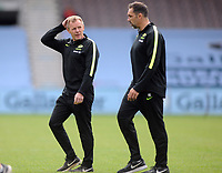Rugby Union - 2019 / 2020 Gallagher Premiership - London Irish vs Saracens<br /> <br /> Saracens Director of Rugby Mark McCall (left) with his coach, at the Stoop.<br /> <br /> COLORSPORT/ANDREW COWIE