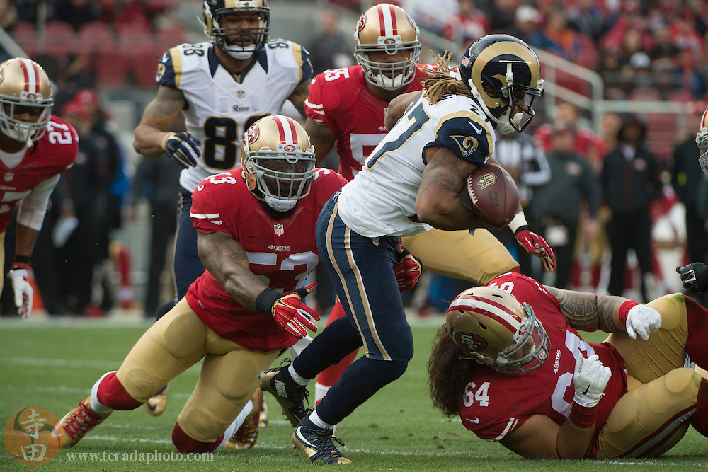 January 3, 2016; Santa Clara, CA, USA; St. Louis Rams running back Tre Mason (27) fumbles the football while being tackled by San Francisco 49ers inside linebacker NaVorro Bowman (53) during the first quarter at Levi's Stadium.