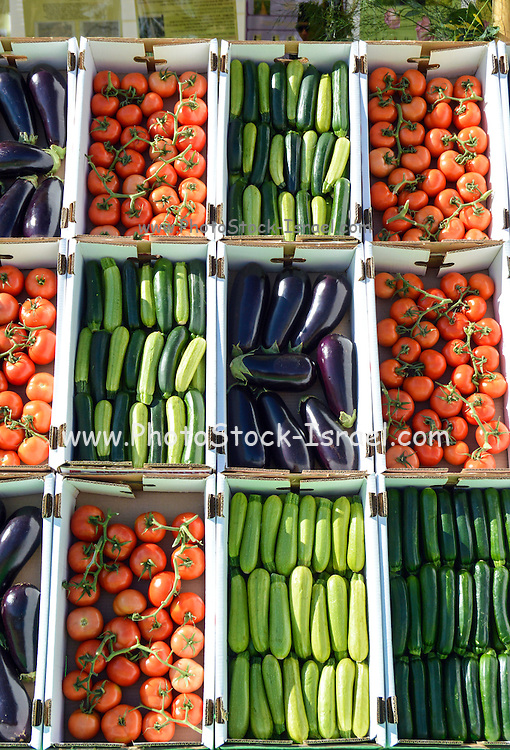 Display of vegetables in a farmer's market. Tomatoes, Cucumbers, Aubergines and Zucchini