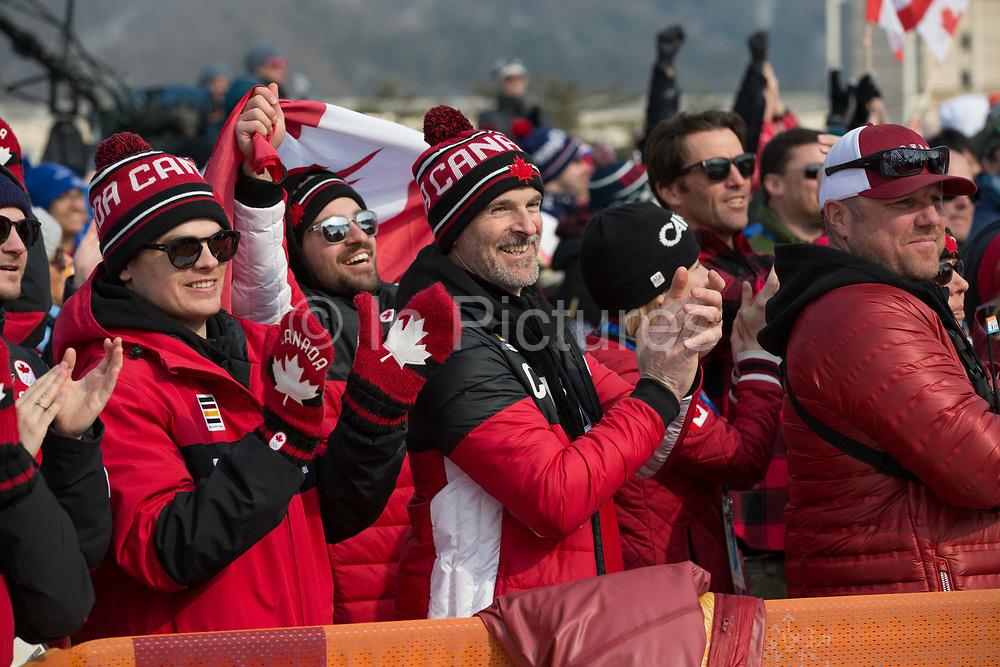 Canadian fans at thePyeongchang 2018 Winter Olympics men's freestyle ski slopestyle final on February 18th 2017, at the Phoenix Snow Park inPyeongchang-gun, South Korea.