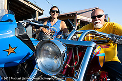 Jody and Dave Perewitz after the Perewitz Paint Show at the Iron Horse Saloon during the Sturgis Motorcycle Rally. Sturgis, SD, USA. Wednesday, August 11, 2021. Photography ©2021 Michael Lichter.