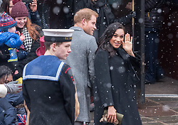 © Licensed to London News Pictures. 01/02/2019. Bristol, UK. The Duke and Duchess of Sussex, HARRY and MEGHAN, meet the crowd on a visit to Bristol Old Vic Theatre in King Street, the first stop on a tour of Bristol today. Built in 1766 as a place where the people of Bristol could come together, Bristol Old Vic is the oldest continuously working theatre in the English speaking world. The Duke and Duchess are to tour the recently renovated facility, finding out more about the theatre's unique history and links to the local community. Their Royal Highnesses will also drop in on a workshop attended by local school children which is part of Bristol Old Vic's outreach programme. The final visit of the day will be to Empire Fighting Chance, which aims to fight the impact of deprivation on young people's lives through boxing. The charity supports children aged 8 to 21 who are failing at school and in danger of drifting into a life of unemployment or even crime, and helps them turn their lives around. Empire Fighting Chance works with around 250-300 children per week and runs programmes which help instil discipline, self control, and respect, whilst building self-confidence, life skills, and improving both physical and mental health and fitness. During their visit Their Royal Highnesses will have the opportunity to meet with young people using the boxing gym, speak to coaches about the positive impact Empire Fighting Chance is having on young people in Bristol and watch a couple of training sessions attended by primary and secondary school pupils. Photo credit: Simon Chapman/LNP