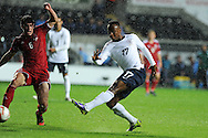 England's Saido Berahino (17) has a shot at goal. UEFA 2015 European U21 championship, group one qualifier , Wales u21 v England u21 at the Liberty Stadium in Swansea, South Wales on Monday 19th May 2014. <br /> pic by Andrew Orchard, Andrew Orchard sports photography.