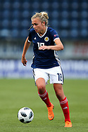 Claire Emslie (#18) of Scotland dribbles the ball down the wing during the FIFA Women's World Cup UEFA Qualifier match between Scotland Women and Belarus Women at Falkirk Stadium, Falkirk, Scotland on 7 June 2018. Picture by Craig Doyle.