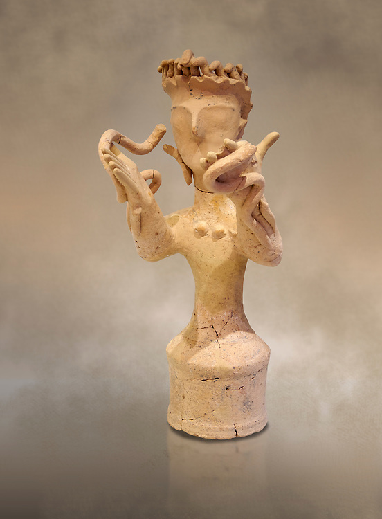 Minoan Postpalatial terracotta  goddess statue with raised arms holding snakes, Kannia Sanctuary,  Gortys, 1350-1250 BC, Heraklion Archaeological Museum. <br /> <br /> The Goddesses are crowned with symbols of earth and sky in the shapes of snakes and birds, describing attributes of the goddess as protector of nature. .<br /> <br /> If you prefer to buy from our ALAMY PHOTO LIBRARY  Collection visit : https://www.alamy.com/portfolio/paul-williams-funkystock/minoan-art-artefacts.html . Type -   Heraklion   - into the LOWER SEARCH WITHIN GALLERY box. Refine search by adding background colour, place, museum etc<br /> <br /> Visit our MINOAN ART PHOTO COLLECTIONS for more photos to download  as wall art prints https://funkystock.photoshelter.com/gallery-collection/Ancient-Minoans-Art-Artefacts-Antiquities-Historic-Places-Pictures-Images-of/C0000ricT2SU_M9w