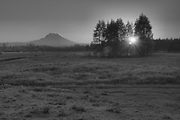 Mount Rainier sunrise in winter HDR Monochrome (black and white)