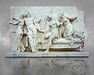 Roman marble relief sculpture known as  Alcibiades and Etere, Franeses Collection, Roman copy of an earlier Greek Helenistic original , inv no 6688, Secret Museum or Secret Cabinet, Naples National Archaeological Museum , grey art background .<br /> <br /> If you prefer to buy from our ALAMY PHOTO LIBRARY  Collection visit : https://www.alamy.com/portfolio/paul-williams-funkystock - Scroll down and type - Roman Art Erotic  - into LOWER search box. {TIP - Refine search by adding a background colour as well}.<br /> <br /> Visit our ROMAN ART & HISTORIC SITES PHOTO COLLECTIONS for more photos to download or buy as wall art prints https://funkystock.photoshelter.com/gallery-collection/The-Romans-Art-Artefacts-Antiquities-Historic-Sites-Pictures-Images/C0000r2uLJJo9_s0