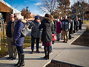 23 NOVEMBER 2019 - DES MOINES, IOWA: People in line for a Joe Biden campaign event. Vice President Biden announced that Tom Vilsack, the former Democratic governor of Iowa, endorsed him. Biden and Vilsack appeared with their wives at an event in Des Moines. Iowa hosts the first presidential selection event of the 2020 election cycle. The Iowa caucuses are on February 3, 2020.                   PHOTO BY JACK KURTZ