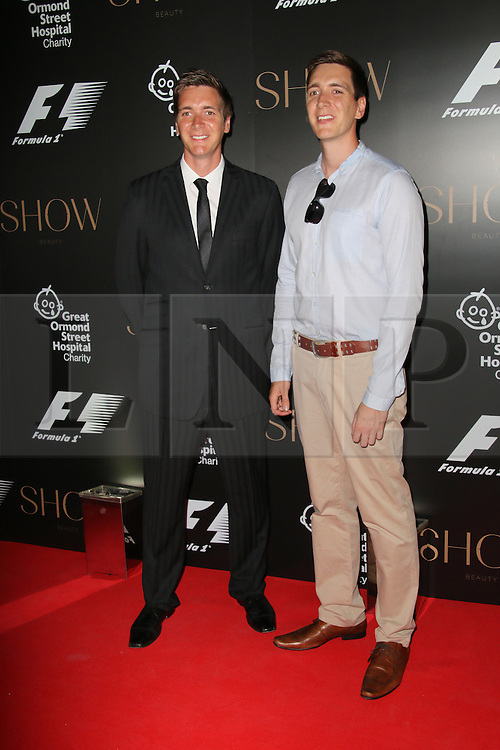 Oliver Phelps; James Phelps, F1 Party in aid of Great Ormond Street Hospital Children's Charity, Victoria and Albert Museum, London UK, 02 July 2014, Photo by Richard Goldschmidt © Licensed to London News Pictures. 03/07/2014