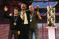 20091108: VALENCIA, SPAIN - 2009 FIM MotoGP Awards Ceremony in Valencia. In picture: 2009 Podium - Dani Pedrosa (Team Honda, 2nd), Valentino Rossi (Team Fiat Yamaha - World Champion, C) and Jorge Lorenzo (Team Fiat Yamaha, 3rd). PHOTO: CITYFILES