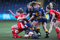 Lauren Leatherland of Worcester Valkyries tackles Nina Vistisen of Saracens Women- Mandatory by-line: Nizaam Jones/JMP - 01/12/2018 - RUGBY - Sixways Stadium - Worcester, England - Worcester Valkyries v Saracen Women- Tyrrells Premier 15s