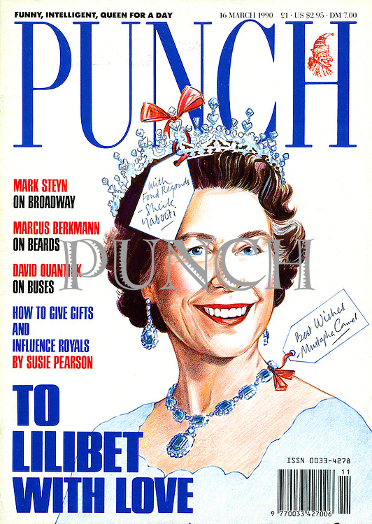 Punch (Queen Elizabeth II wearing jewellery bearing gift tags from foreign rulers. Front cover, 16 March 1990)