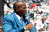 DURBAN - 4 December 2016 -  Professor Caesar Nongqunga, the leader of South Africa's 4.5 million strong Twelve Apostles Church in Christ at a thanksgiving service in Durban's Moses Mabhida Stadium tells church members to deposit their savings into the same bank that had earlier in the year given the country's President Jacob Zuma a loan to repay the the government for controversial non-security upgrades to his personal residence in Nkandla. Picture: Allied Picture Press/APP