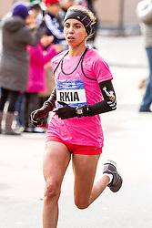 NYC Marathon, first time marathoner Rkia El Moukim, 26, Morocco, leads along First Avenue near mile 18