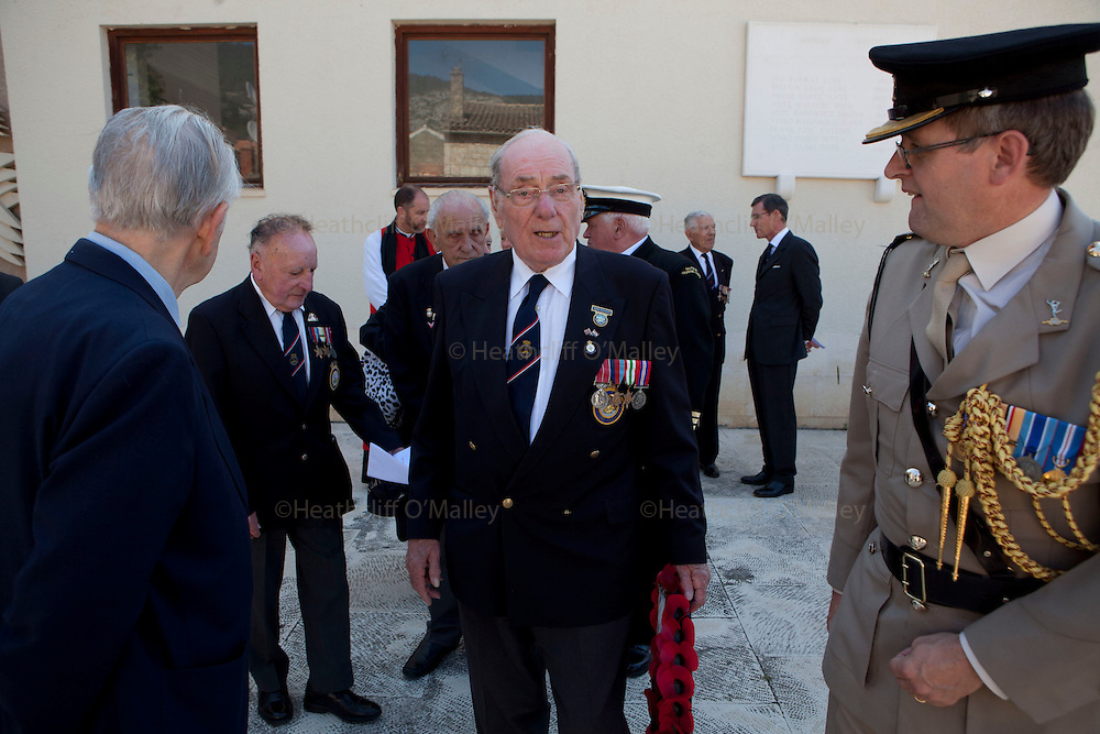 Mcc0031516 . Daily Telegraph..Peter Bickmore BEM... A reunion of British WW2 Veterans, probably for the last time. They are some of the last survivors of an Allied combined garrison of Royal Navy, Royal Marine Commandos, Army and Royal Air Force personnel who took over the Island in 1943 and held it until the end of the War. From here they harried Axis Forces in what was Yugoslavia, providing supply drops to the Partisans and, at one point, refuge for Marshall Tito when he was nearly captured by German Forces ...19 May 2011 Vis, Croatia