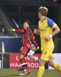 February 17, 2018 - Leuven, BELGIUM - OHL's Thai goalkeeper Kawin Thamsatchanan pictured in action during a soccer game between OH Leuven and KFCO Beerschot Wilrijk, in Heverlee, Leuven, Saturday 17 February 2018, on day 27 of the division 1B Proximus League competition of the Belgian soccer championship. BELGA PHOTO BRUNO FAHY (Credit Image: © Bruno Fahy/Belga via ZUMA Press)