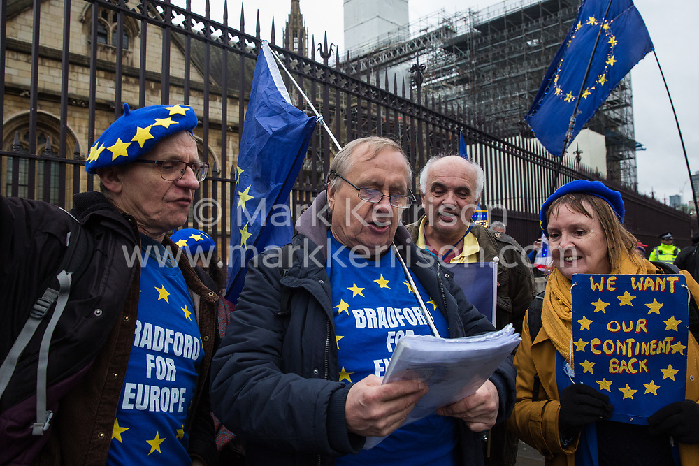 London, UK. 30 January, 2020. Pro-EU activists from SODEM (Stand of Defiance European Movement) sing at a party outside Parliament on the eve of Brexit Day on the theme of 'Party like there's no tomorrow'.