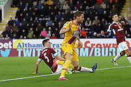 Connor Wickham of Crystal Palace celebrates after scoring his teams 1st goal. Premier League match, Burnley v Crystal Palace at Turf Moor in Burnley , Lancs on Saturday 5th November 2016.<br /> pic by Chris Stading, Andrew Orchard sports photography.