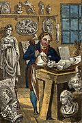 'Sculptor carving a stone statue. Hand-coloured woodcut from ''The Book of English Trades'', London, 1823.'