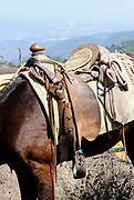 A well worn saddle on a horse waiting  for a tourist who wants to ride up Volcan de Pacaya. San Francisco de Sales. Republic of Guatamala. 02Mar14