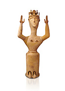 Minoan Postpalatial terracotta  goddess statue with raised arms and crown,  Karphi Sanctuary 1200-1100 BC, Heraklion Archaeological Museum, white background. <br /> <br /> The Goddesses are crowned with symbols of earth and sky in the shapes of snakes and birds, describing attributes of the goddess as protector of nature. .<br /> <br /> If you prefer to buy from our ALAMY PHOTO LIBRARY  Collection visit : https://www.alamy.com/portfolio/paul-williams-funkystock/minoan-art-artefacts.html . Type -   Heraklion   - into the LOWER SEARCH WITHIN GALLERY box. Refine search by adding background colour, place, museum etc<br /> <br /> Visit our MINOAN ART PHOTO COLLECTIONS for more photos to download  as wall art prints https://funkystock.photoshelter.com/gallery-collection/Ancient-Minoans-Art-Artefacts-Antiquities-Historic-Places-Pictures-Images-of/C0000ricT2SU_M9w