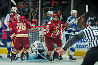 REGINA, SK - MAY 19: Samuel Asselin #28, Jeffrey Truchon-Viel #25 and Liam Murphy #61 of Acadie-Bathurst Titan react to the game winning goal against Stuart Skinner #74 of Swift Current Broncos during overtime at the Brandt Centre on May 19, 2018 in Regina, Canada. (Photo by Marissa Baecker/CHL Images)