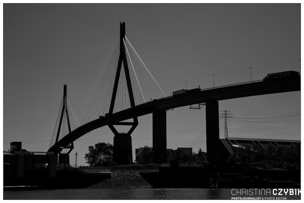 Hafenrundfahrt in Hamburg<br /> <br /> *** Black and White Travel Features of the Port of Hamburg, Germany ***