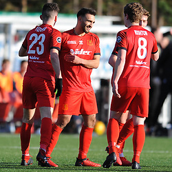 Latham Park, Newtown, 2/2/2019 - GOAL. Rio Ahmadi celebrates after scoring to make it 1-0 during the JD Welsh Premier League fixture between Newtown AFC and Connah's Quay Nomads.<br /> <br /> Pic: Mike Sheridan/County Times<br /> ctMS003-2019