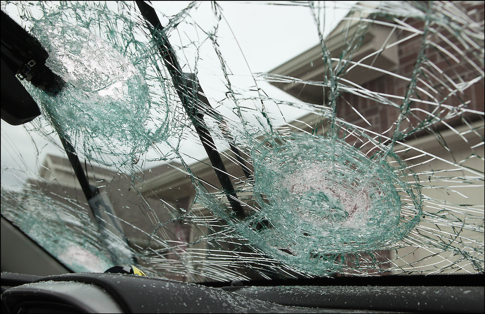Baseball/softball sized hail smashed the windshield of this car in Wylie, Texas during a severe thunderstorm.