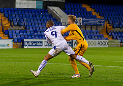 BIRKENHEAD, ENGLAND - Tuesday, September 29, 2020: Liverpool's goalkeeper Vitezslav Jaros (R) is fouled by Tranmere Rovers' James Vaughan but no penalty was awarded during the EFL Trophy Northern Group D match between Tranmere Rovers FC and Liverpool FC Under-21's at Prenton Park. Tranmere Rovers won 3-2. (Pic by David Rawcliffe/Propaganda)