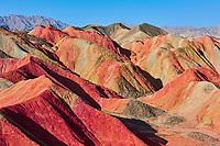 Chine, Province du Gansu, Zhangye, paysage de Danxia, patrimoine de l'Unesco // China, Gansu Province, colorful Danxia landform in Zhangye, Unesco world heritage