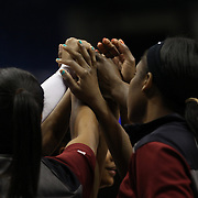 Temple players embrace before the Temple Vs East Carolina Quarterfinal Basketball game during the American Women's College Basketball Championships 2015 at Mohegan Sun Arena, Uncasville, Connecticut, USA. 7th March 2015. Photo Tim Clayton