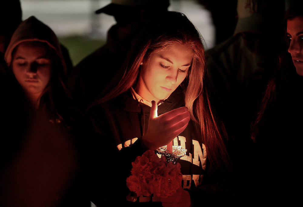 (011907 Sudbury, MA)  Friends and schoolmates of James Alenson, 15, who was fatally stabbed Friday morning at school,  held a candle light vigil outside the Lincoln Sudbury Regional High School.