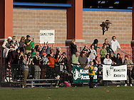 Middletown, New York - Hamilton High School soccer fans cheer in the bleachers while watching their team play Chazy in the New York State Class D boys' soccer championship game on Nov. 20, 2011.