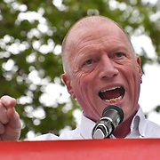 Speaker Matt Wrack is a General Secretary of the Fire Brigades Union at Climate Emergency Now demonstration at Parliament Square on 1 st May 2019, London, UK.