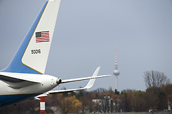 November 18, 2016 - Berlin, Germany - The US flags is pictured on the presidential car as US President Barack Obama arrives for his departure at Tegel airport in Berlin, Germany on November 18, 2016. (Credit Image: © Emmanuele Contini/NurPhoto via ZUMA Press)
