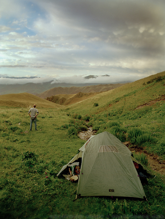 Lush landscapes around lake Issyk Kul. Travels through Kyrgystan, along the Silk Road. June 2006.