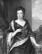 Anne (1665-1714), Queen of Great Britain and Ireland from 1702. Second daughter of James II and sister of Mary II. Engraving after portrait by Godfrey Kneller
