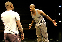 The Brothers Size<br /> Young Vic, London, Great Britain<br /> press photocall<br /> 9th November 2007 <br /> <br /> Nyasha Hatendi (as Ogun)<br /> Obi Abili (as Oshoosi)<br /> <br /> Photograph by Elliott Franks