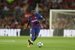 August 7, 2017 - Barcelona, Spain - Samuel Umtiti of FC Barcelona during the 2017 Joan Gamper Trophy football match between FC Barcelona and Chapecoense on August 7, 2017 at Camp Nou stadium in Barcelona, Spain. (Credit Image: © Manuel Blondeau via ZUMA Wire)